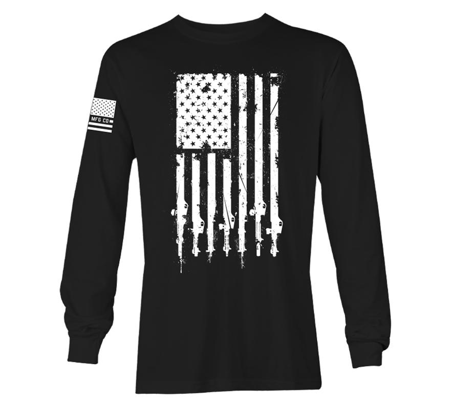 Mens Long Sleeve Tees - Freedom Flag