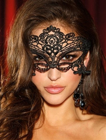 Embroidered Venice Mask - Black - embracedesires