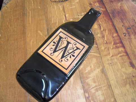 Flat Wine Bottle Cheese Board- Custom Initial Monogram Label - Amber Bottle - Bottle Crafters - 1