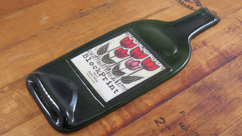 Cheese Serving Platter - Block Print Wine - Bottle Crafters - 1