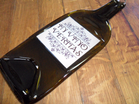 Flat Wine Bottle - In Vino Veritas - Bottle Crafters - 1