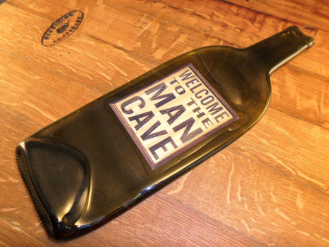 Melted Wine Bottle - Great for Wine Bottle Cheese Board Welcome To The Man Cave Label - Bottle Crafters - 1