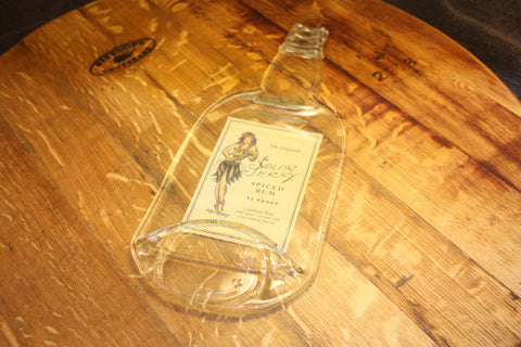 Flat Liquor Bottle - Sailor Jerry Rum - Great Bar Wall Hanging or Cheese Platter - Bottle Crafters - 1