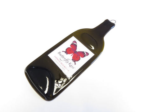Flat Wine Bottle - Butterfly Kiss Empress Red Blend - Great Cheese Plate, Wall Hanging, Sushi Platter - Bottle Crafters - 1