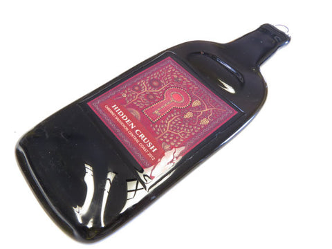 Flattened Wine Bottle - Hidden Crush Cabernet Sauvignon - Great Cheese Plate, Wall Hanging, Sushi Platter - Bottle Crafters - 1