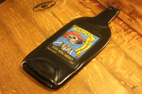 Melted Wine Bottle Cheese Board- Chronic Cellars Sofa King Bueno Label - Bottle Crafters - 1