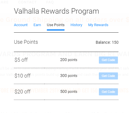Valhalla Rewards Program - Use Points