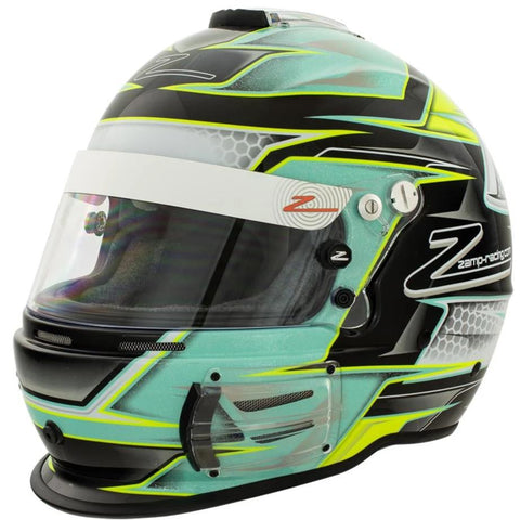 Zamp RZ-42 SNELL SA2015 graphic racing helmet with green and silver design