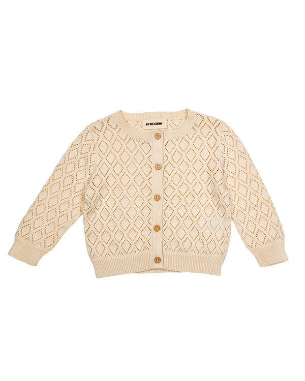 Cotton button up cardigan in cream.