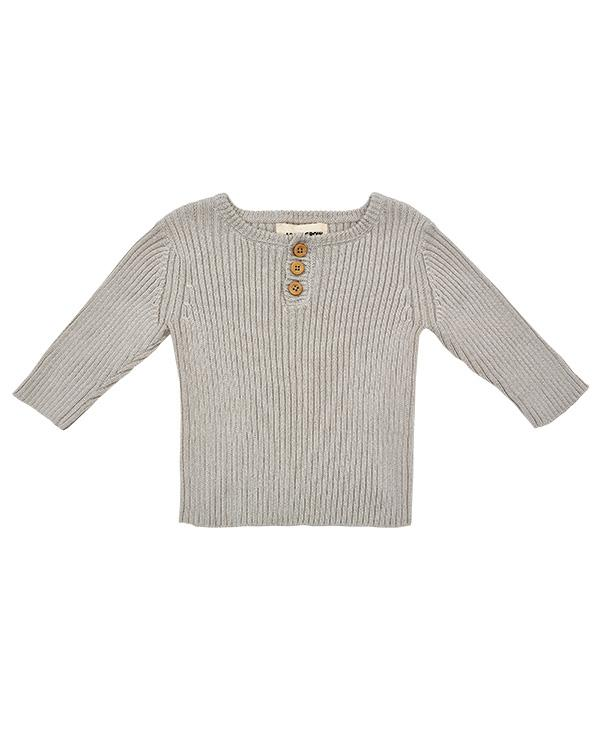 Organic cotton sweater in grey, ethical fashion piece.