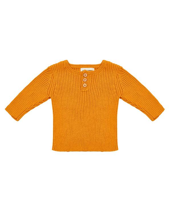 Organic cotton sweater in saffron, ethical fashion piece.
