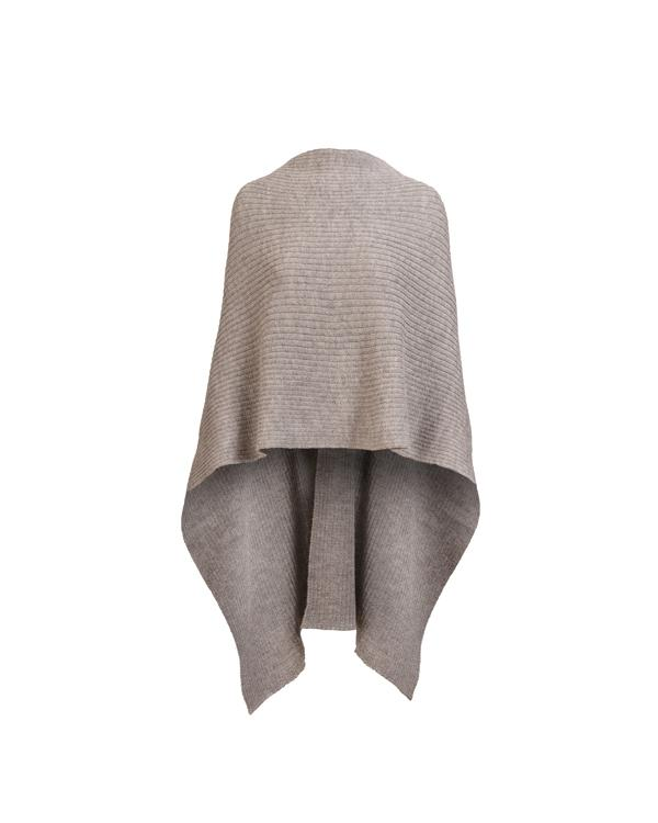 Knitted soft alpaca cape in gray. Can be worn in many different ways.