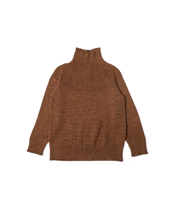 Turtle neck children's sweater knitted in 50% baby alpaca and 50% merino wool. Ginger color.