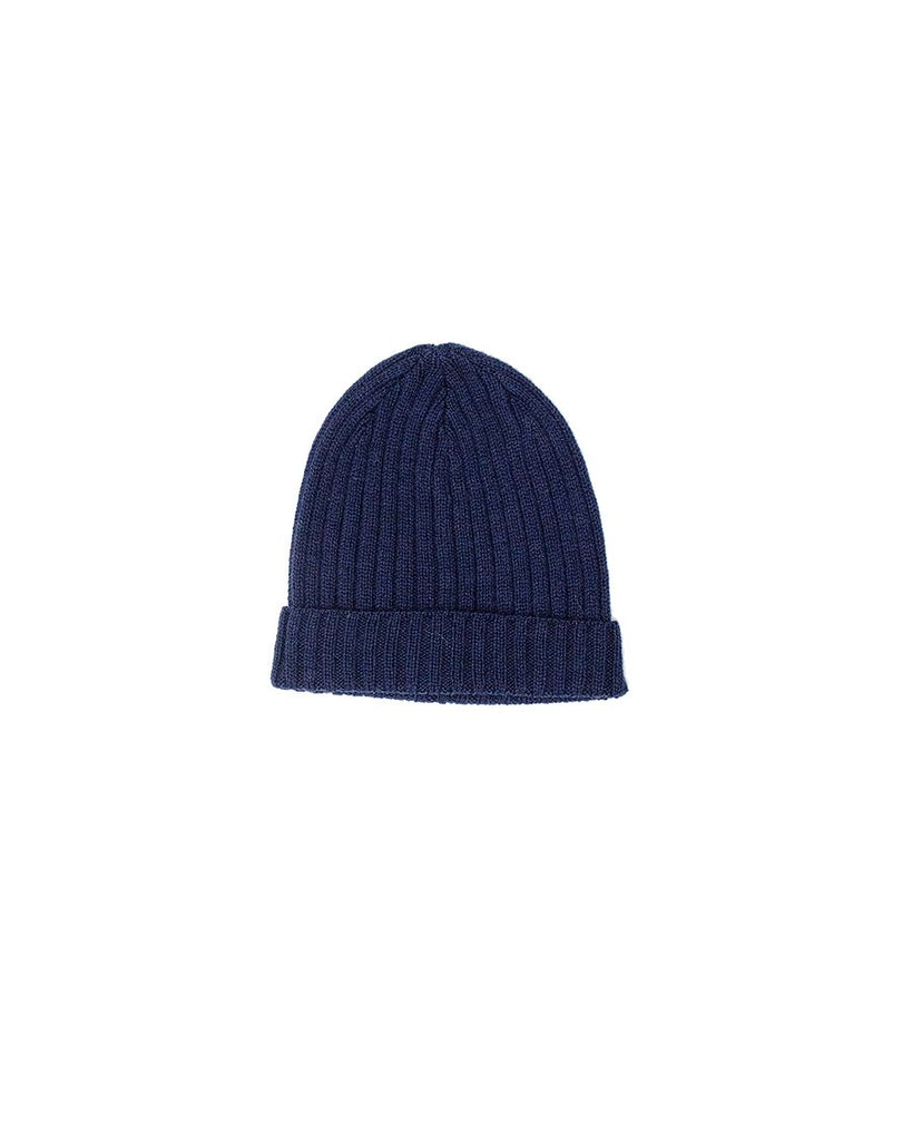 Knitted alpaca rib beanie in a navy.