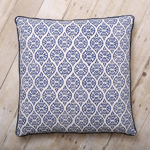 Leela Block Print Cushion, Indigo