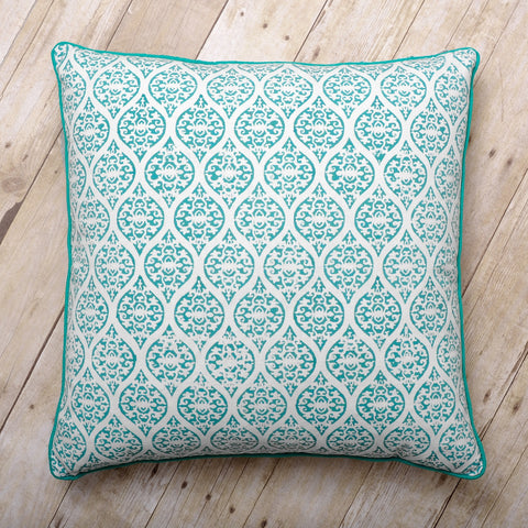 Leela Block Print Cushion, Pool Blue