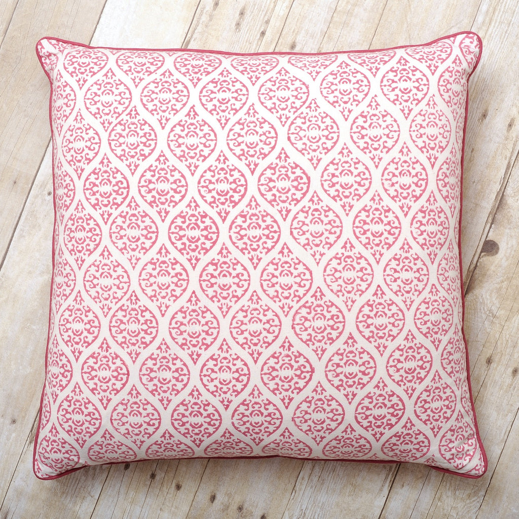 Leela Block Print Cushion, Rose