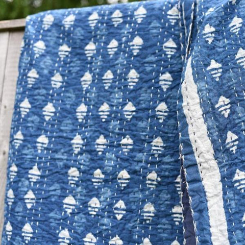 Indigo Diamond Kantha Quilt (New)