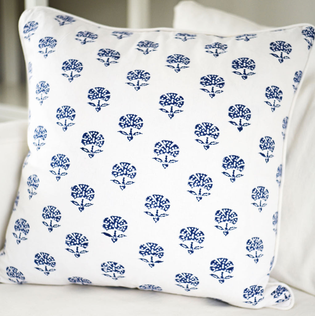 Meera Block Print Cushion, Indigo