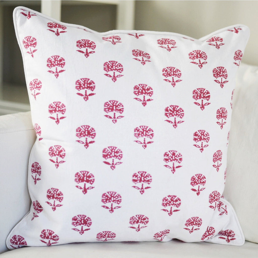 Meera Block Print Cushion, Pink