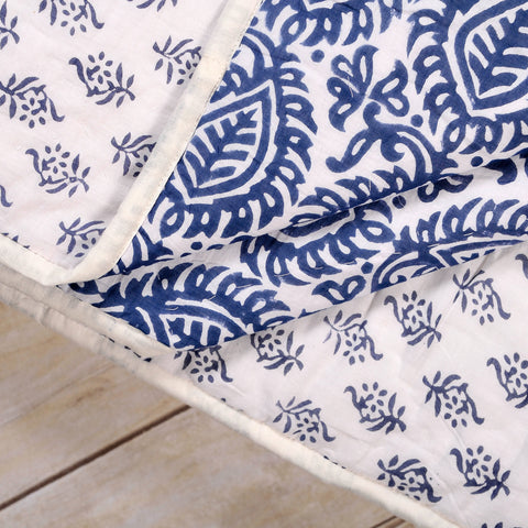 indian blue kantha rebeccasaix products and print bedspread kingsize blockprint king white size quilt block
