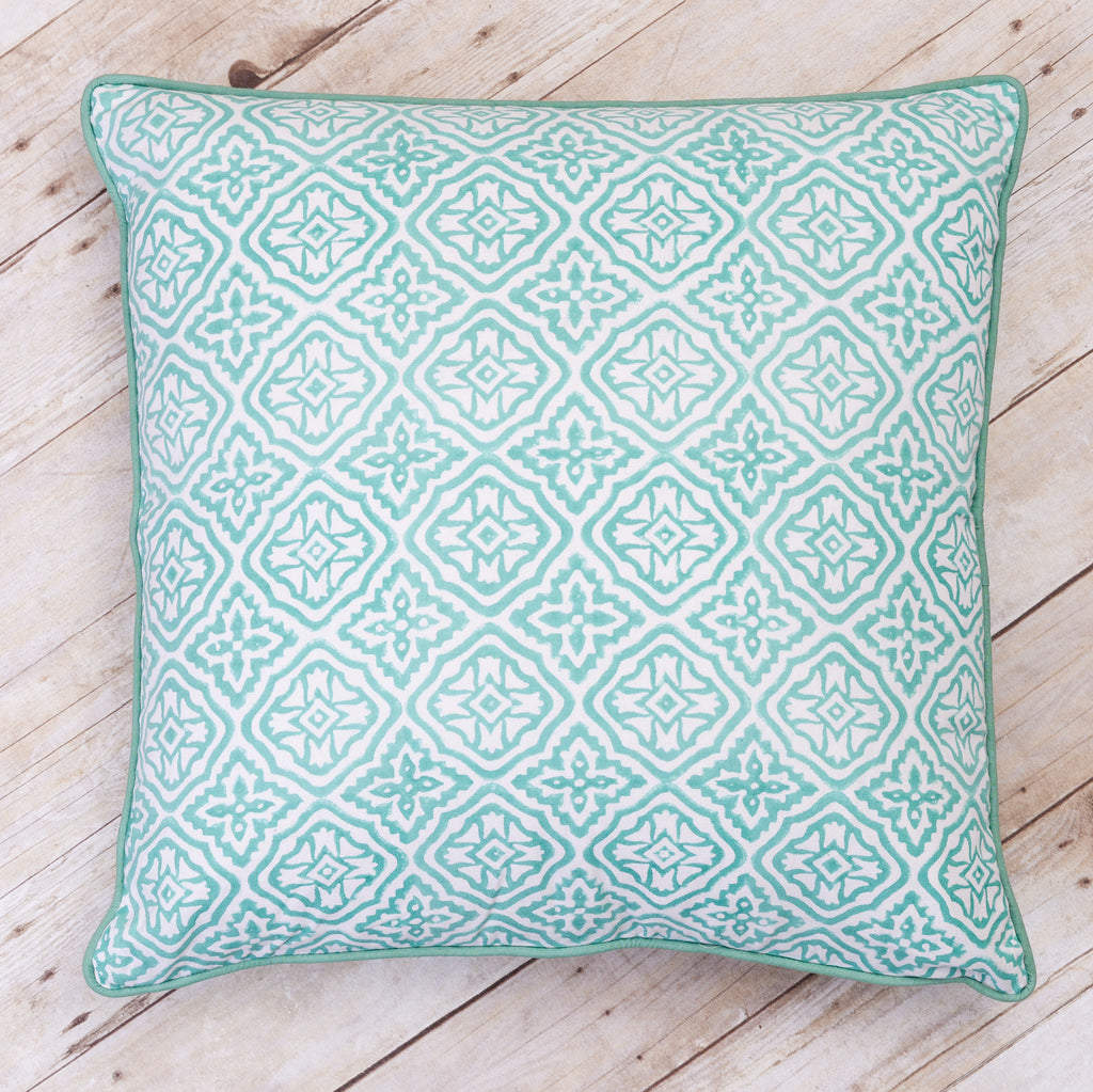 Reva Block Print Cushion, Seaglass