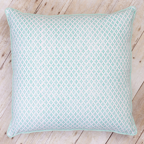 Shanti Block Print Cushion, Seaglass