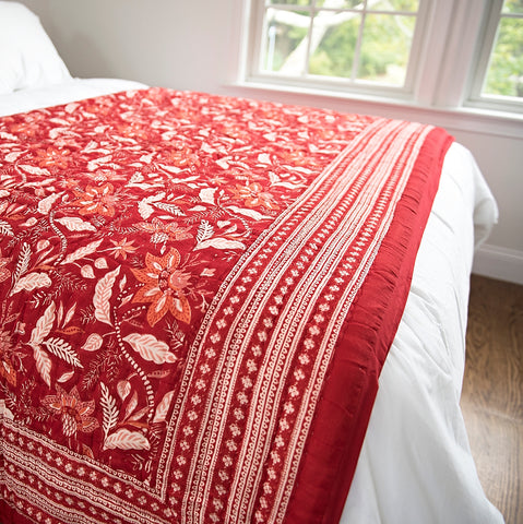 Red Lotus Block Print Quilt