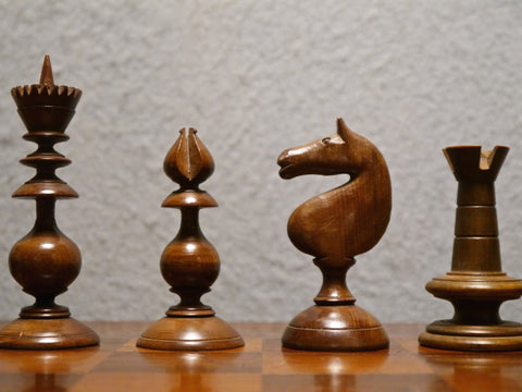 Irish Yew Chess Set & Board, 19th century