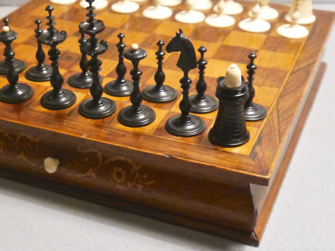 Danish Bone Chess Set and Board, 19th century
