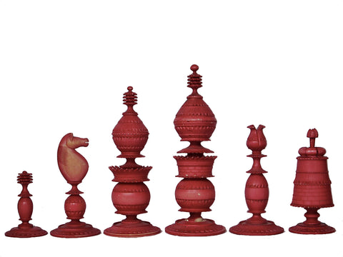 Antique Indian Ivory Chess Set