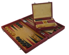 Jaques Leather Backgammon Set, circa 1930