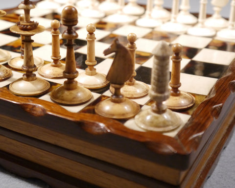 Biedermeier Bone Chess Set, circa 1840