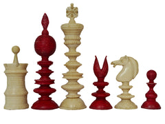 "Antique ""Lund Pattern"" Bone Chess Set"