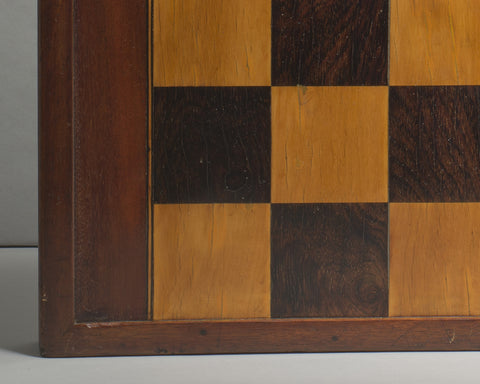 A Mahogany and Rosewood Games Board/Box
