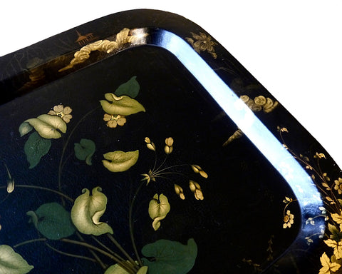 papier mache antique tray chinoiserie