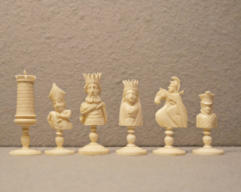 French Dieppe 'Bust' Chess Set, circa 1810
