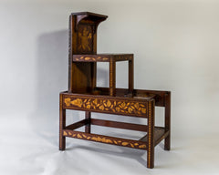 Dutch Marquetry Library Steps, 19th century