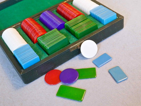 Set of Celluloid Gambling Chips, 1930s