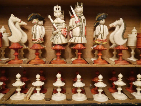 Geislingen Bone Figural Chess Set, 18th century