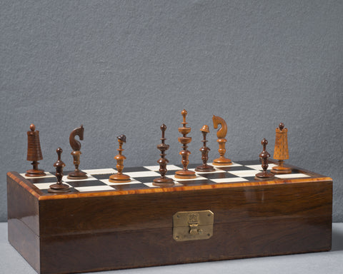 A German Chess Set and Board, circa 1830