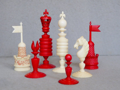 "Rare ""Harry Elliot"" Ivory Chess Set, circa 1860"