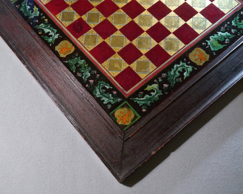 Heraldic Glass Chess Board, 19th century