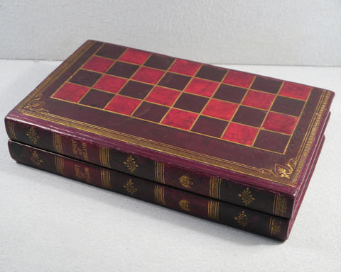 Antique Leather Backgammon & Chess Board