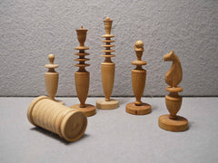 Unusual Italian Olivewood Chess Set, 1865