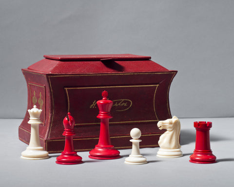 Jaques Ivory Chess Set and Sarcophagus Box