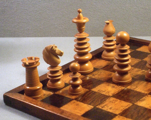 Antique 'John Calvert' Style Chess Set