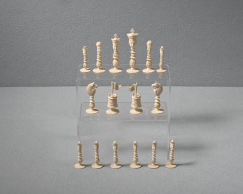 A Macao Ivory Chess Set, circa 1820
