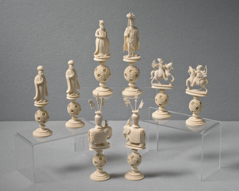 Large Canton King George Chess Set, circa 1820