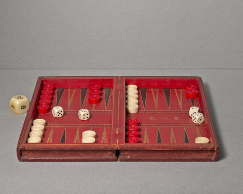 A Fine English Leather Games Set, circa 1880